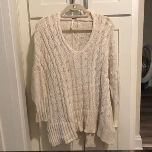 Free People Cable Knit Sweater in White